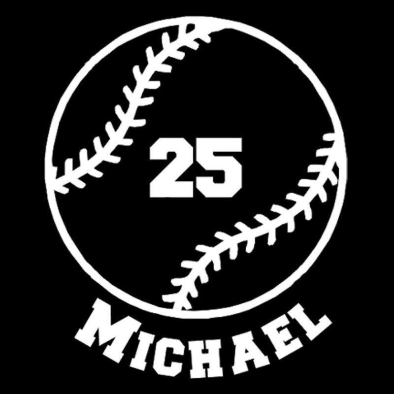 Custom vinyl baseball with name and number car window decal sticker