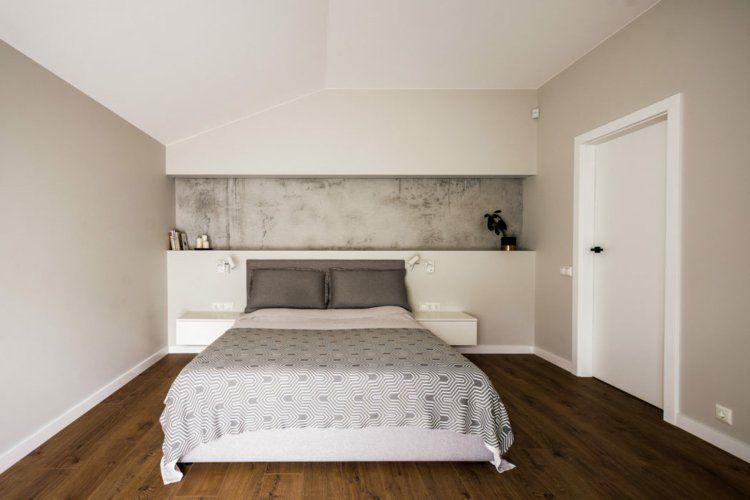 Deco gris et bois chambre coucher minimaliste peinture effet beton cire interiordesign