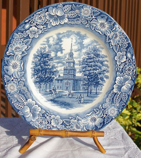 Staffordshire Liberty Blue  Independence Hall  Dinner Plate & Staffordshire Liberty Blue Independence Hall by TrellisLaneVintage ...