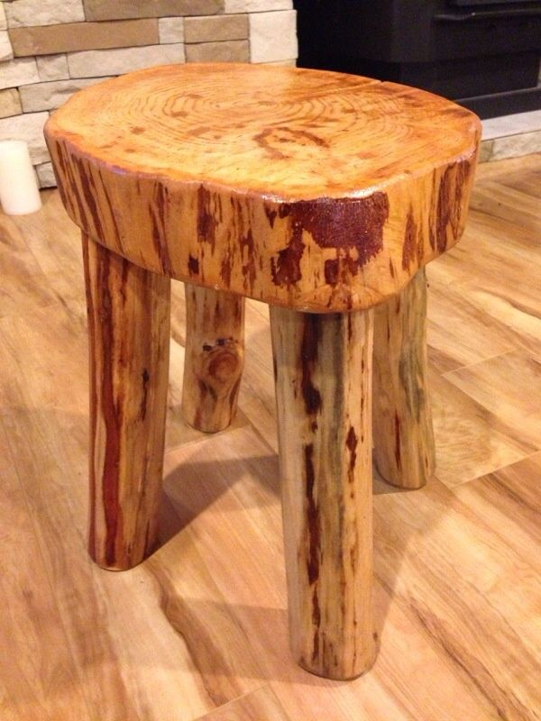 rustic log wood stool furniture logs pinterest wood