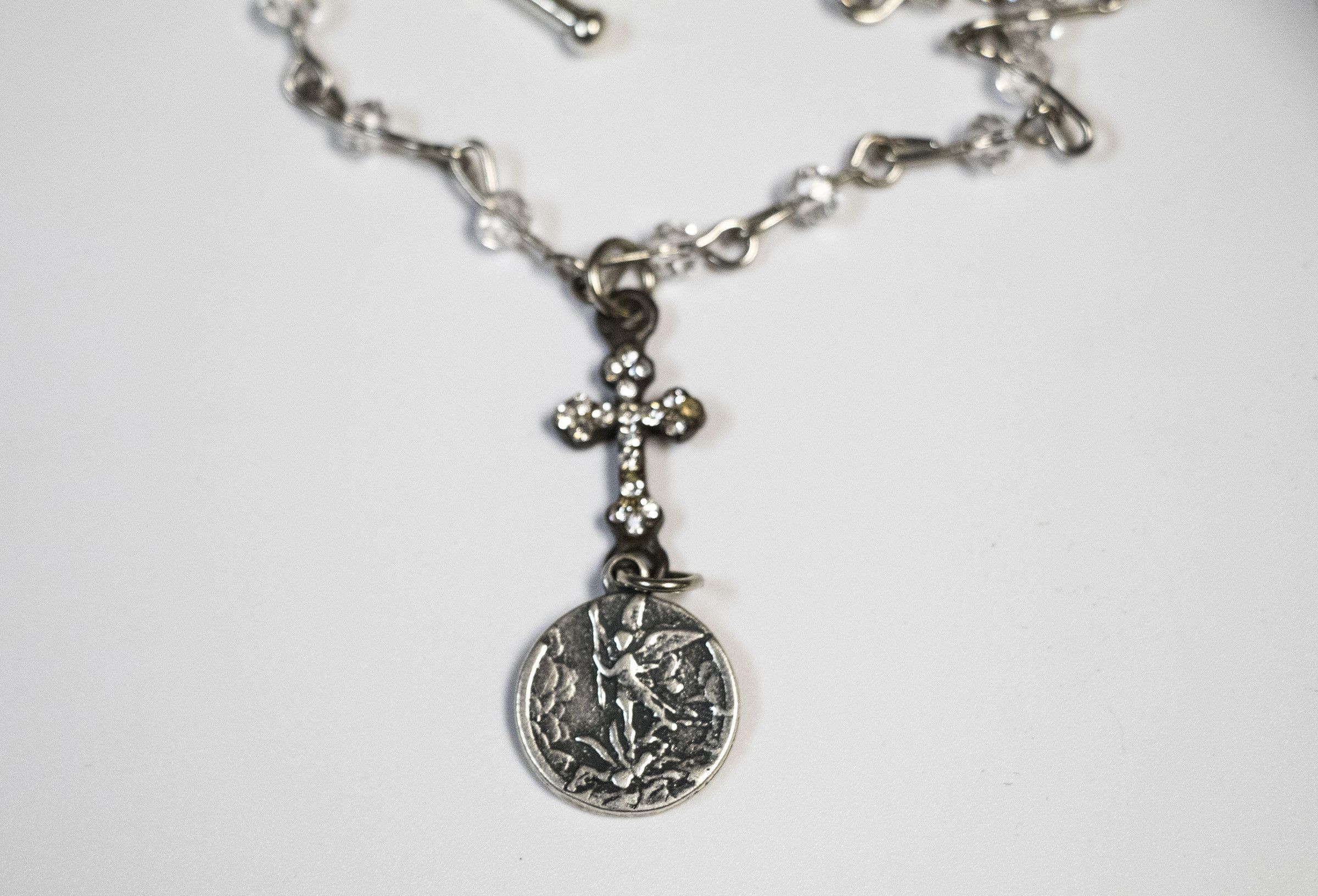 guardian jewelry back tone michaels com angel pendant with inch amazon saint medal michael silver st dp