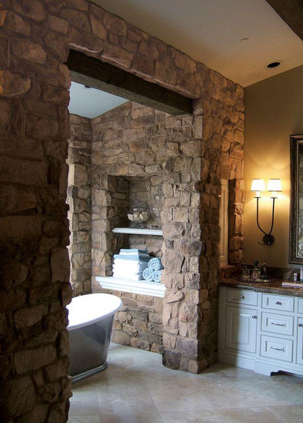 Rustic Stone Bathroom. Have the stone wrap around and form a shower [ MexicanConnexionforTile.com ] #bathroom #Talavera #Mexican
