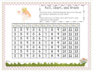 Here's a spring/bunny themed roll and color activity. Also includes a graphing and data analysis page.