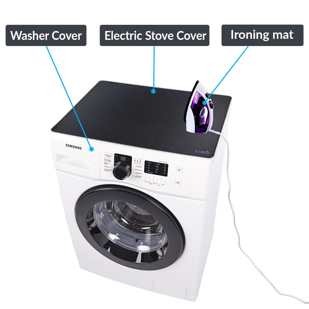 Heat Resistant Larsic Stove Cover Anti-Slip Coating Foldable 28.5X20.5, Grey Waterproof Prevents Scratching Expands Usable Space Thick Natural Rubber Sheet Protects Electric Stove Top