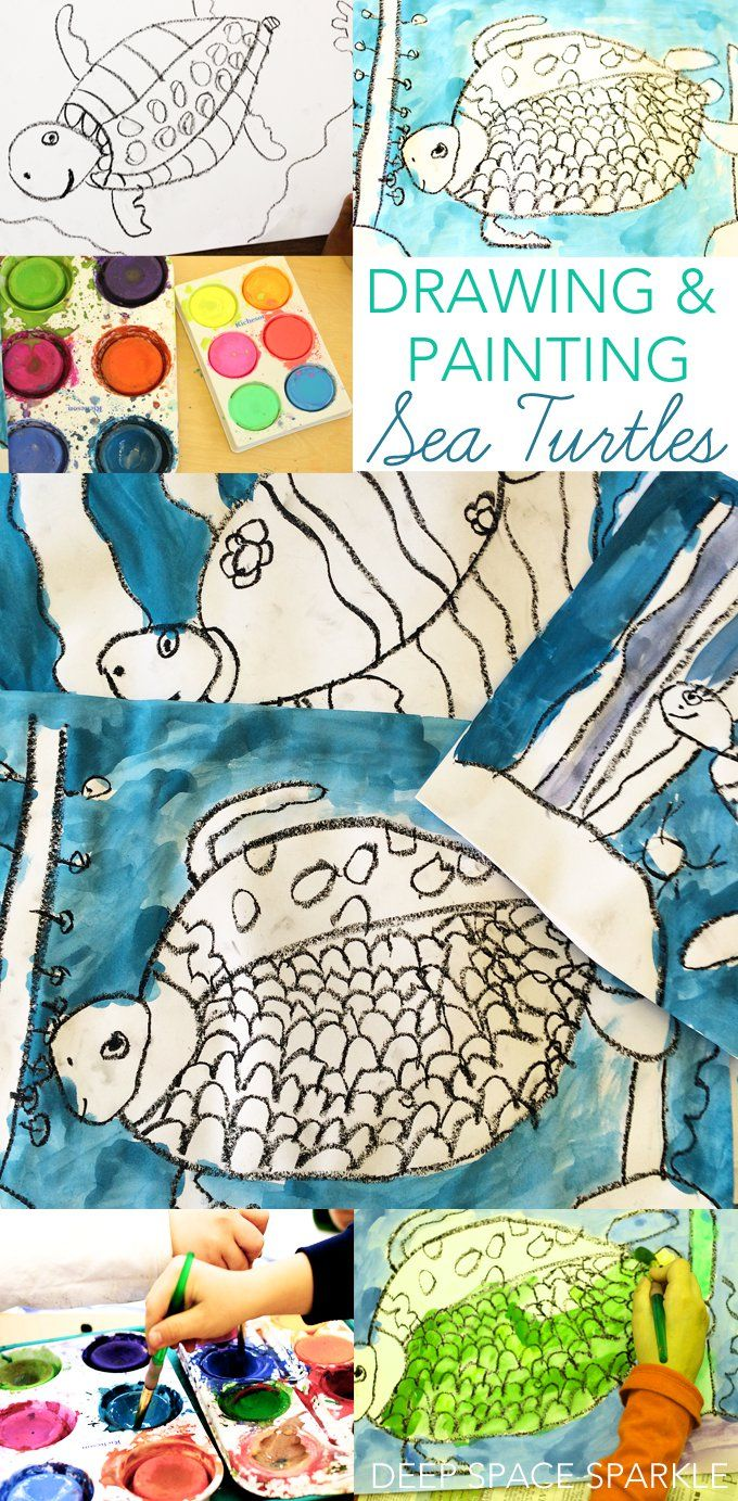 How to draw and paint a sea turtle using simple art supplies art projects for kids
