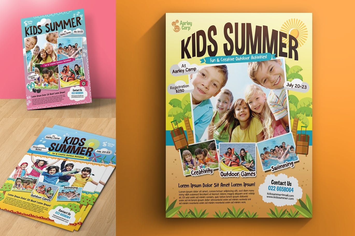 kids summer camp flyers template psd letter size 8511 inches bleed area a4 size 210297 mm bleed area 3 alternative design cmyk 300