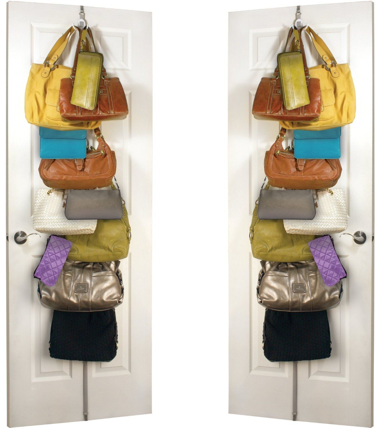 Handbag Storage Rack With Double Hooks For 24 Handbags Purses Plus By Jokari Twin Pack Hanging Organiser Solution Over Door Or On The Wall Also