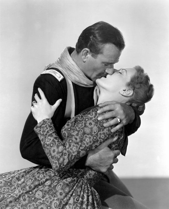 """John Wayne y Maureen O'Hara en """"Río Grande"""", 1950"""