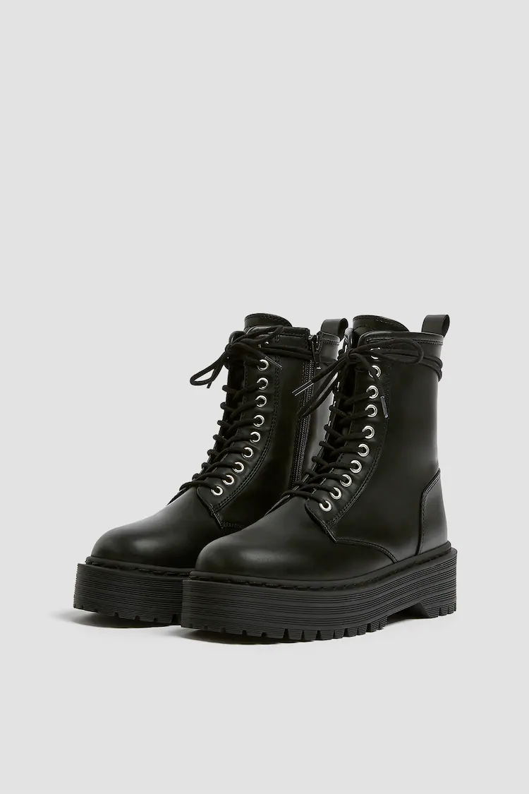 Chunky Sole Ankle Boots Pull Bear Lace Up Ankle Boots Boots Fashion Shoes