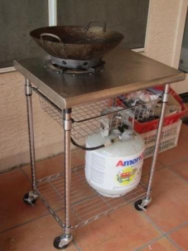 Cart For My Outdoor Wok Burner Doityourself Com Wok Cooking Wok Outdoor Kitchen