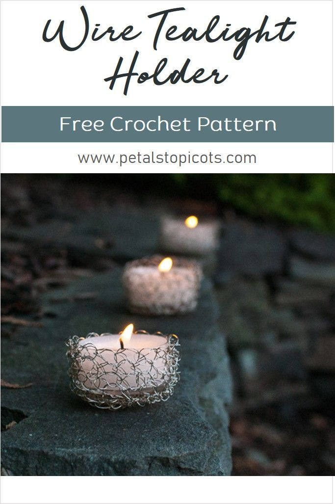 Wire Crochet Tealight Holder Pattern | Wire crochet, Crochet and ...