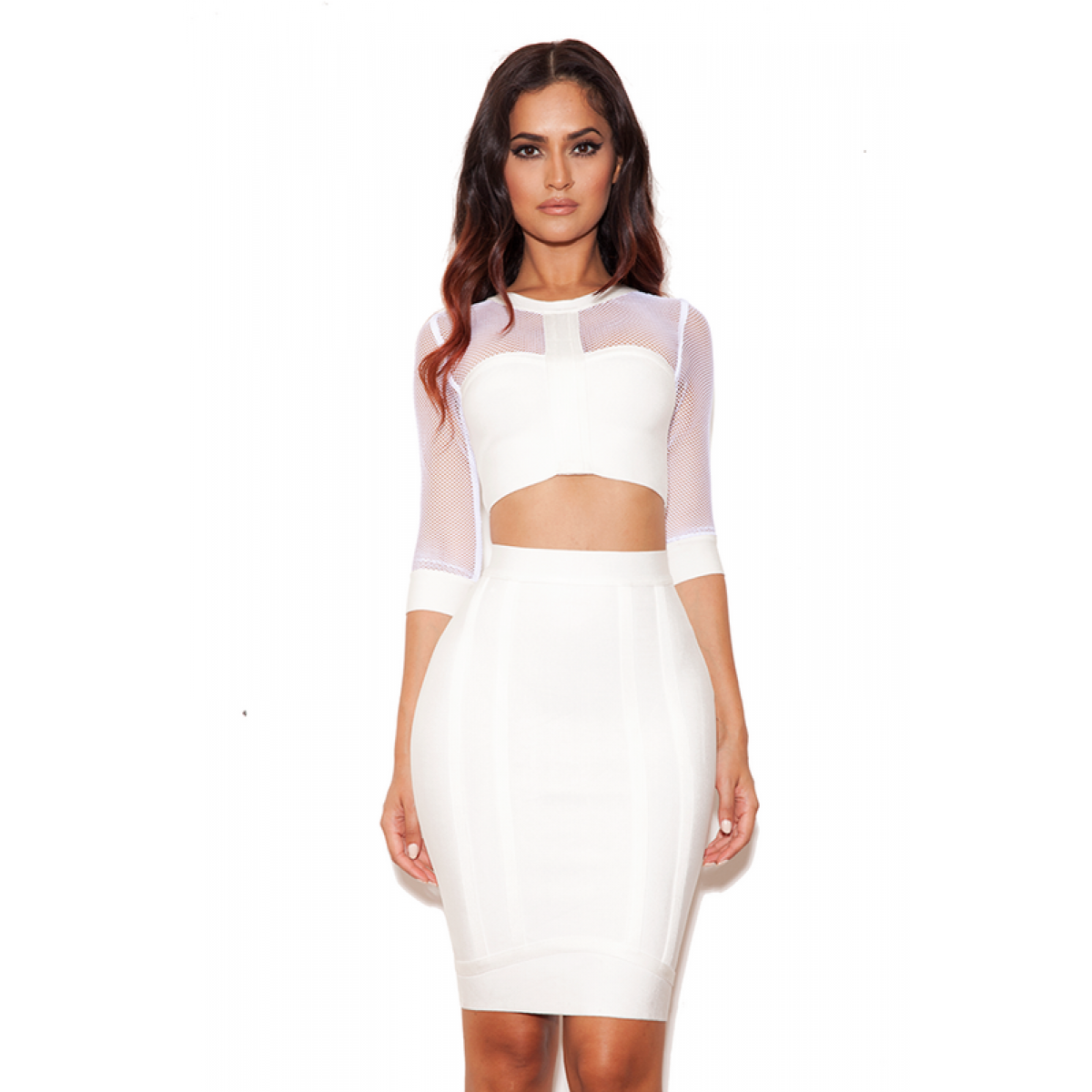 Herve Leger Teo Piece Long Sleeve White Bandage Dress SDR221 ...