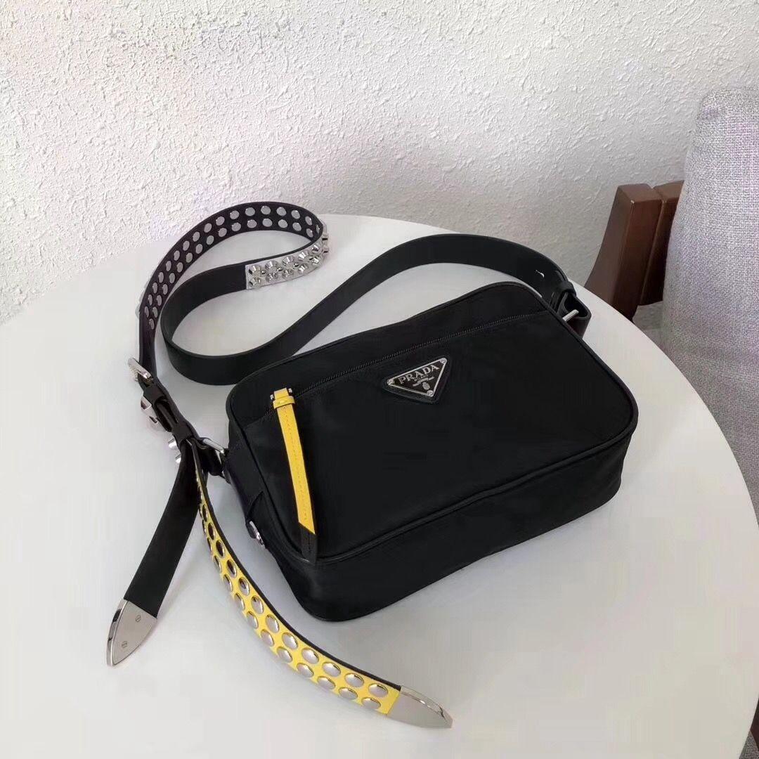 63d614f5dae4 Prada Studded Nylon Camera Bag Black/Yellow Spring 2018 | Prada Bags ...