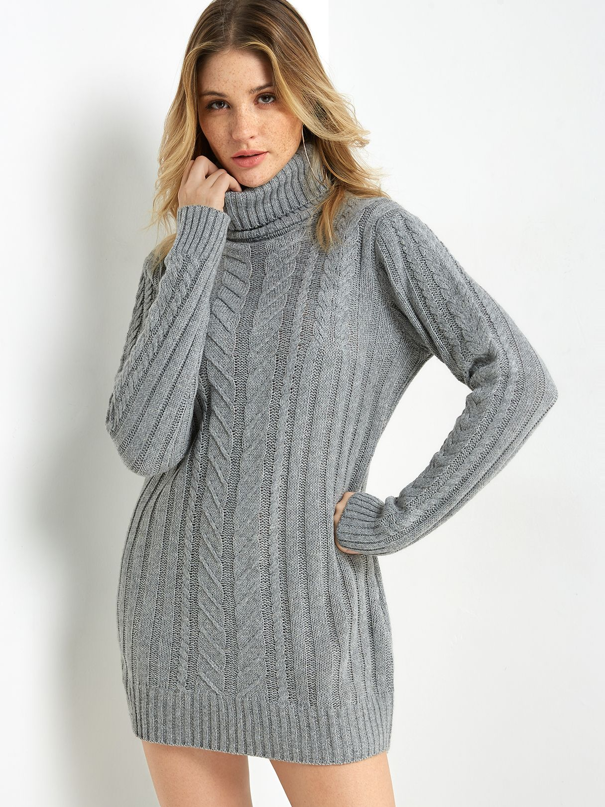 94b818e30a Grey Cable Knit High Neck Long Sleeves Sweater Dress - US 23.95 in ...