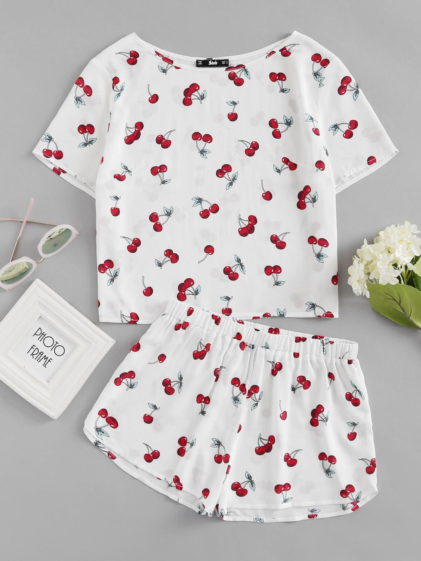 875d6d8989 SheIn - #SheIn Cherry Print Top And Shorts Pajama Set - AdoreWe.com ...