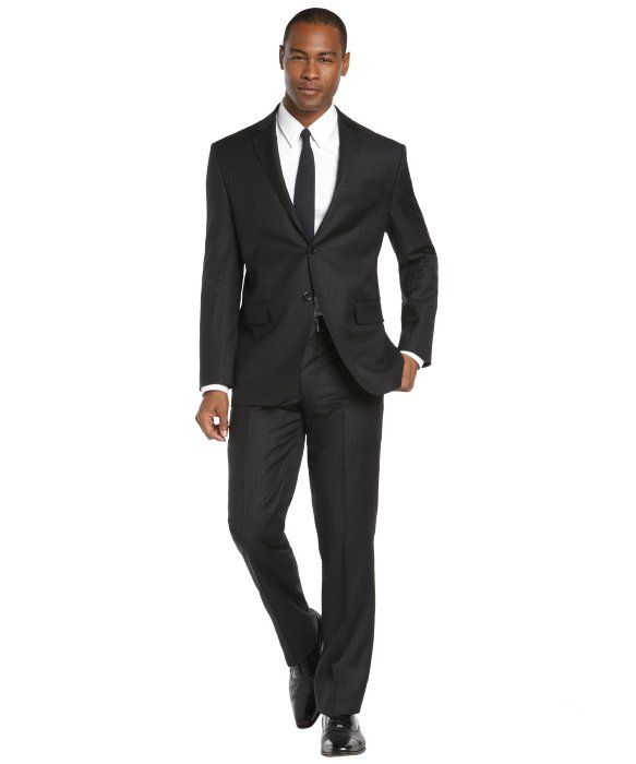 Mens Black Striped Two Button Suit With Flat Front Pants