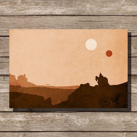 Star Wars Movie Poster Art Print Tatooine Bantha Jabba Movie Art Fan Art Art Posters Art Prints Art Prints