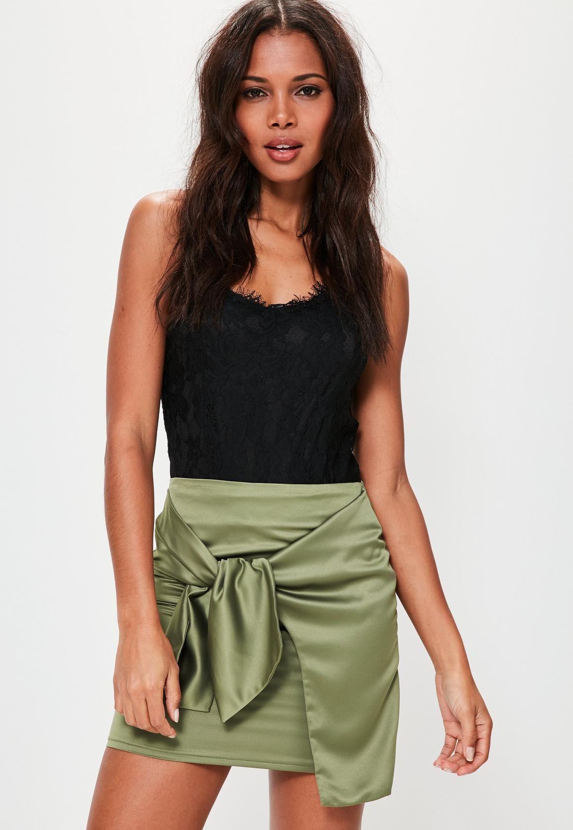 4c3b7b25f41 Green Mini Skirt Satin   Saddha