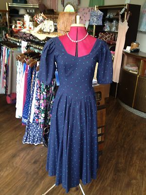 Vintage Laura Ashley blue  green polka dot dress only £25 size 10 *SOLD*