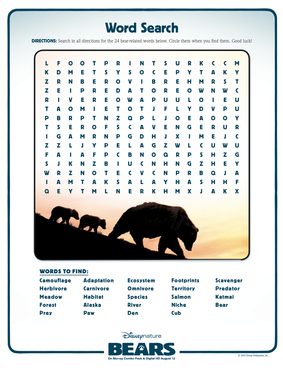 Animal Adaptations | Disney Bears | Video Worksheet | Science ...