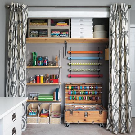 Closets are built with doors for a reason: They're meant to hide stuff. Still, these essential storage spots are some of the most-used spaces in any home—so why not make them as appealing and user-friendly as possible? Outfitted with colorful fixtures and smart tools, an organized closet, dresser, or craft room can be a thing of beauty. Even better, it can be pulled together on the tightest of budgets. Here are 10 ways to conquer clutter by repurposing items you may already have on hand…