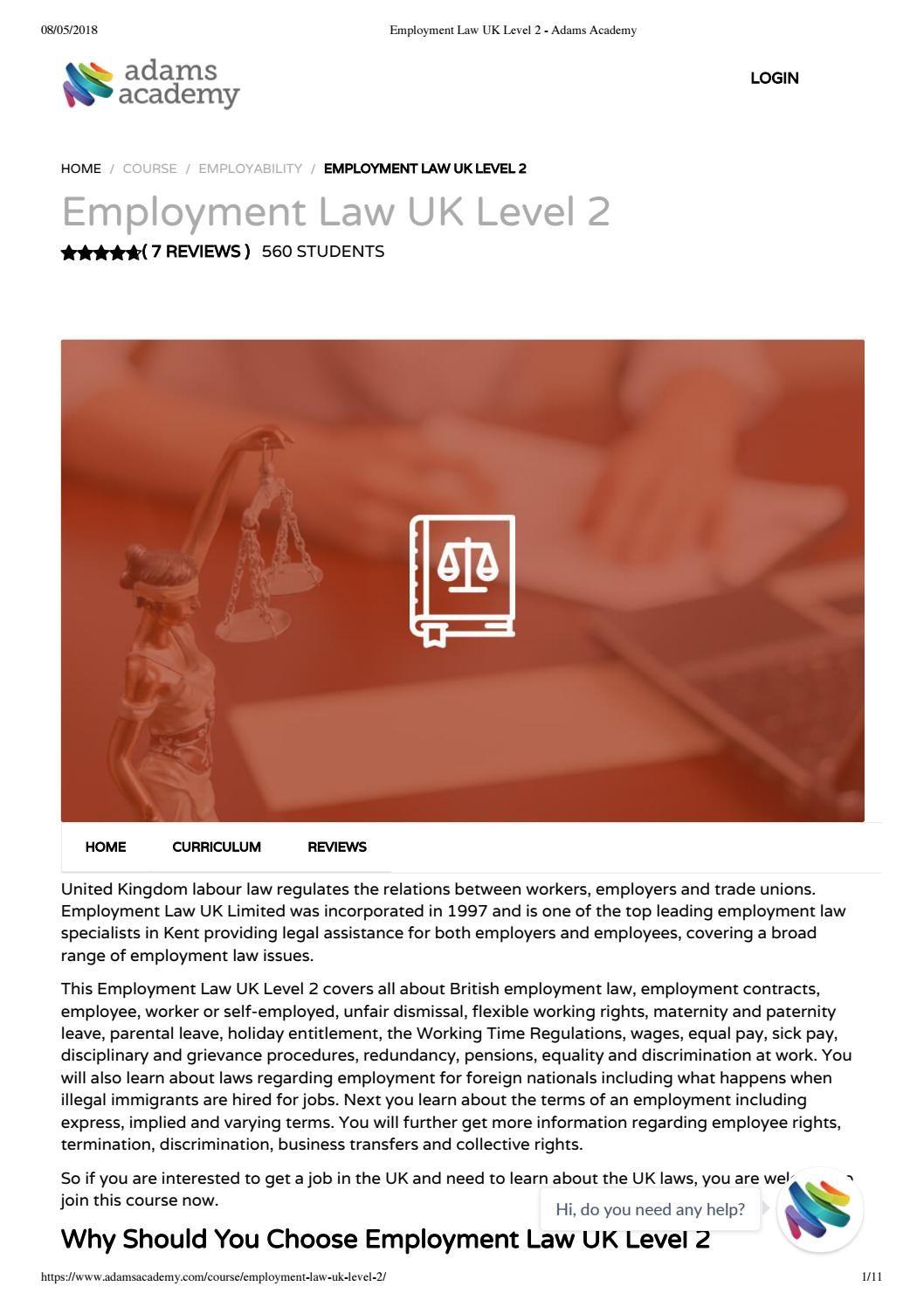 Employment law uk level 2 Adams Academy Employment law