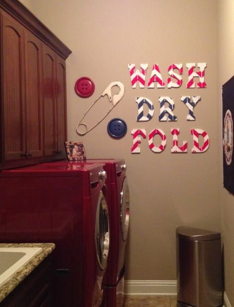 Small narrow laundry room ideas with safety pins wall decor ...