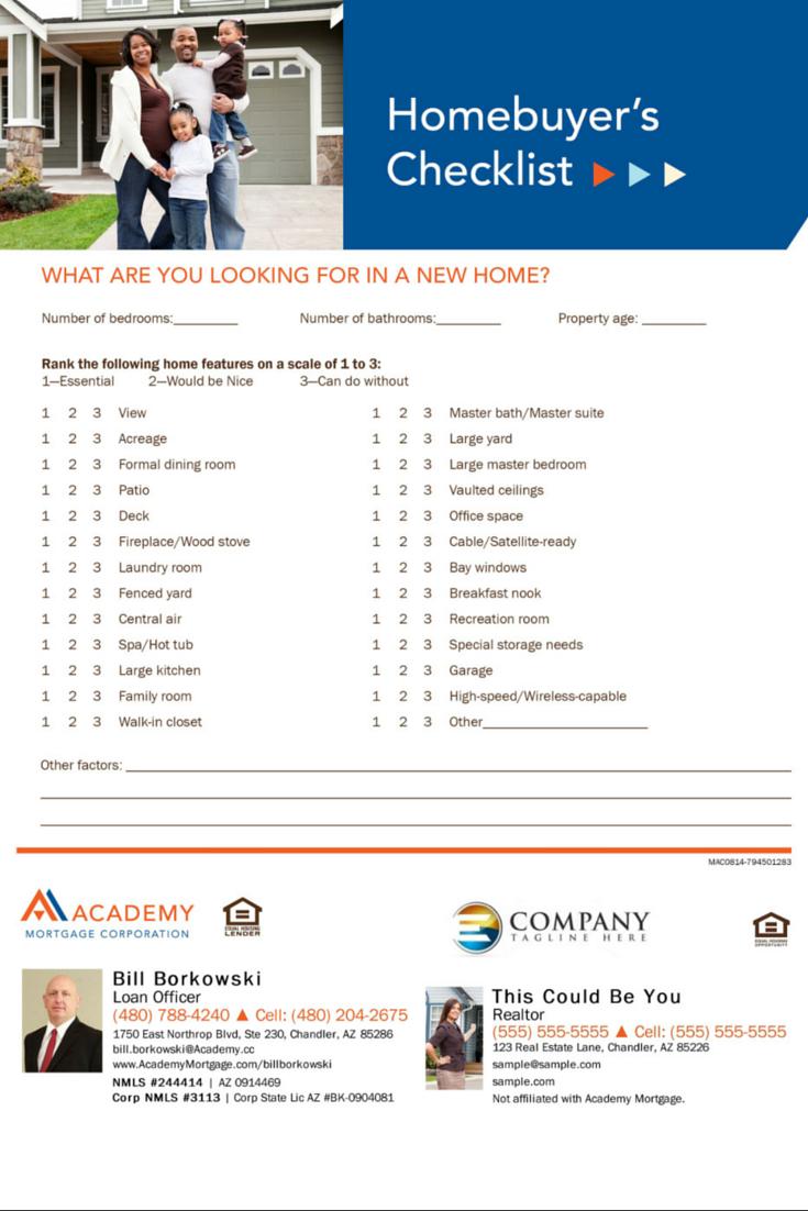 Homebuyer S Checklist Bill Borkowski Loan Officer At Academy Mortgage Chandler Branch Home Buying Checklist Home Buying Home Ownership