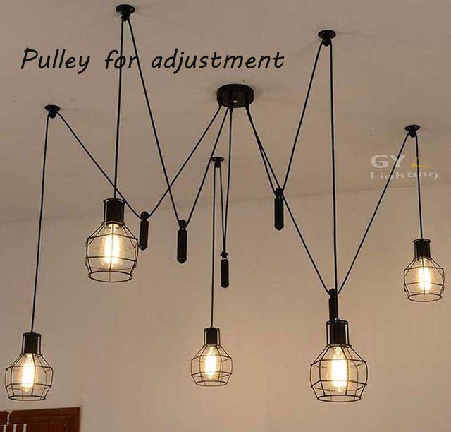 Ac100 240v 5pcs E27 Pulley Pendant Chandelier Modern Vintage Loft Bar Metal Mesh Cage Lampshade Art Pen Luminaires Rustiques Eclairage Rustique Lampes Modernes