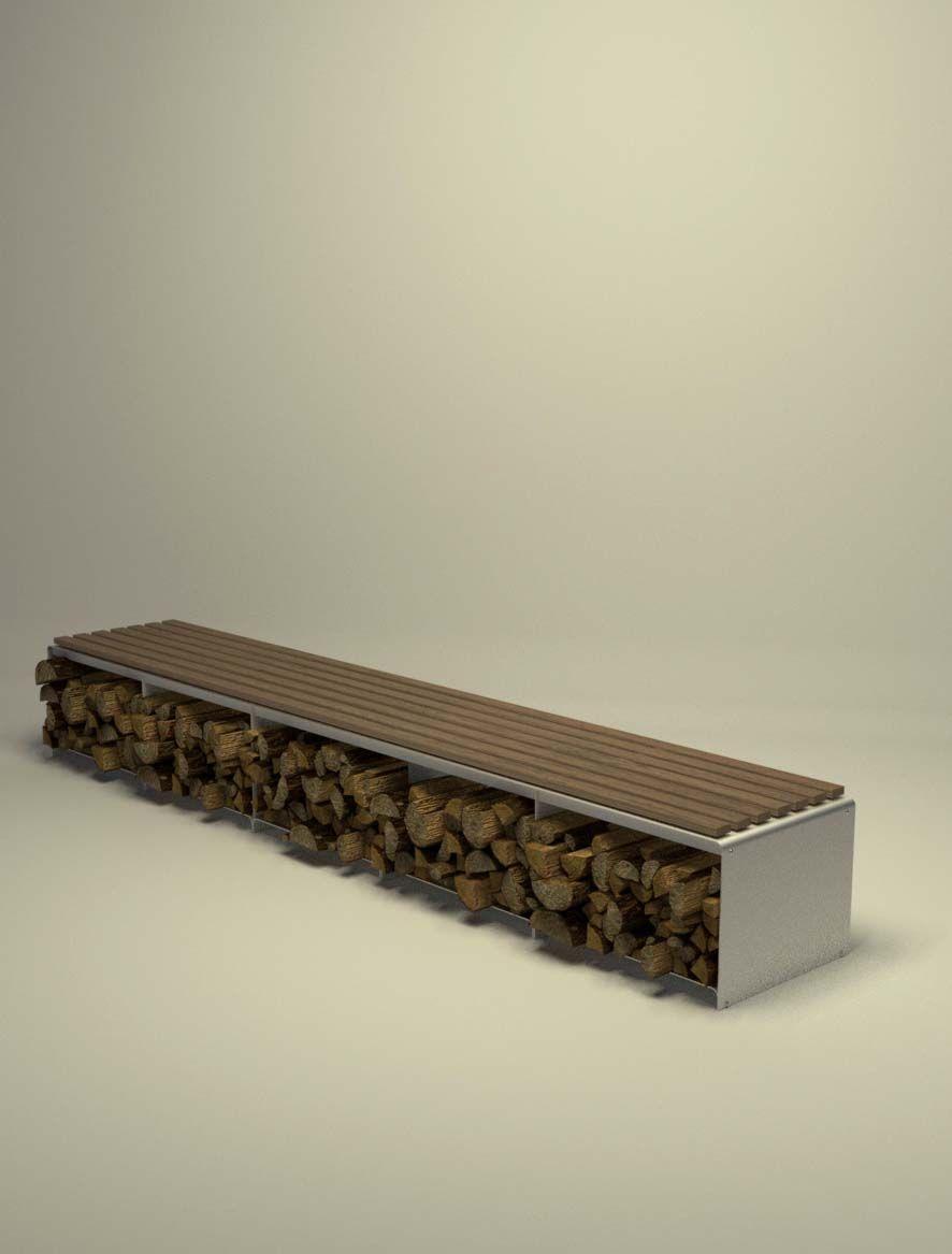 Design Metallmoebel Kaminholz Sitzbank Brennholz Aufbewahrung Aus Stahl Holz  Teak Stahlzart