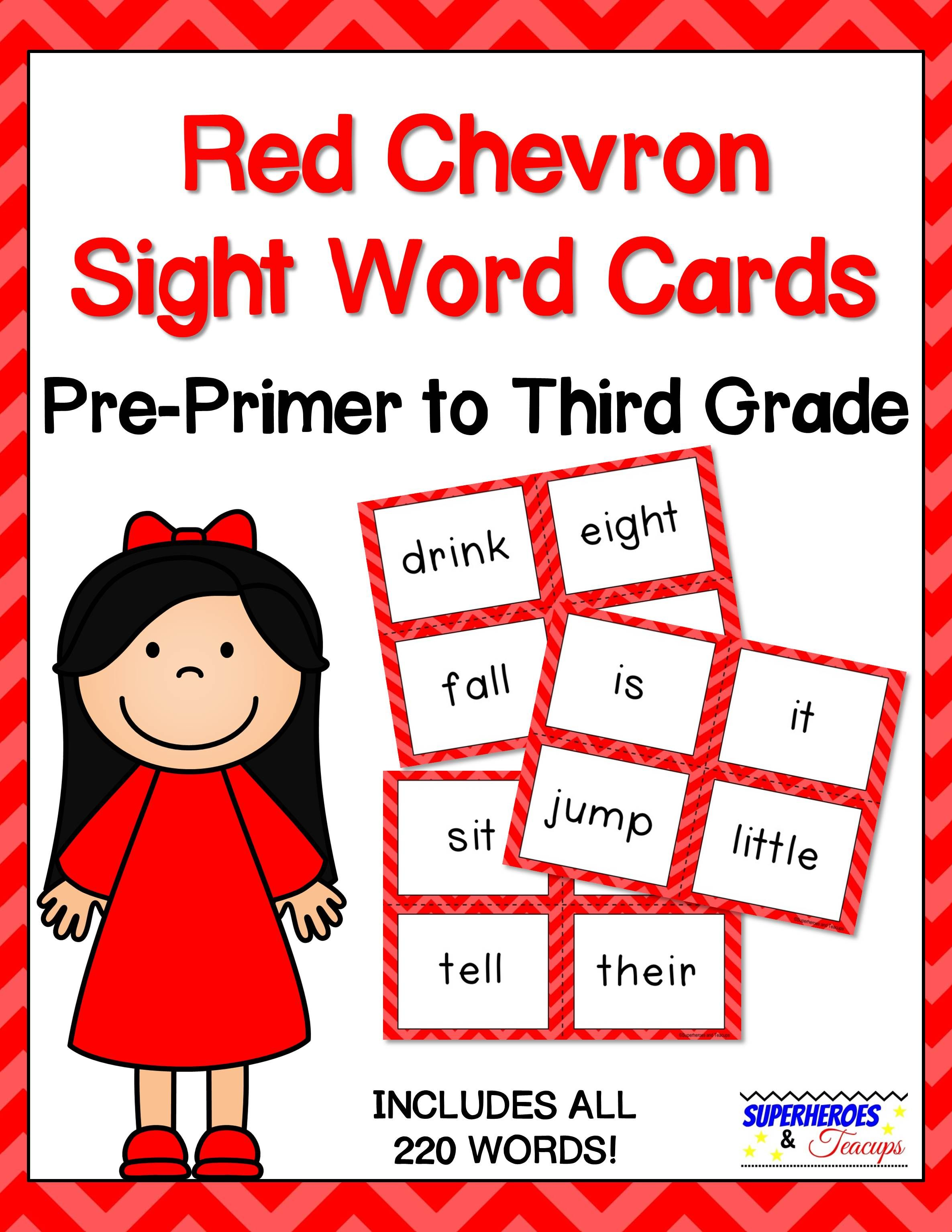 Sight Word Cards Red Chevron Theme