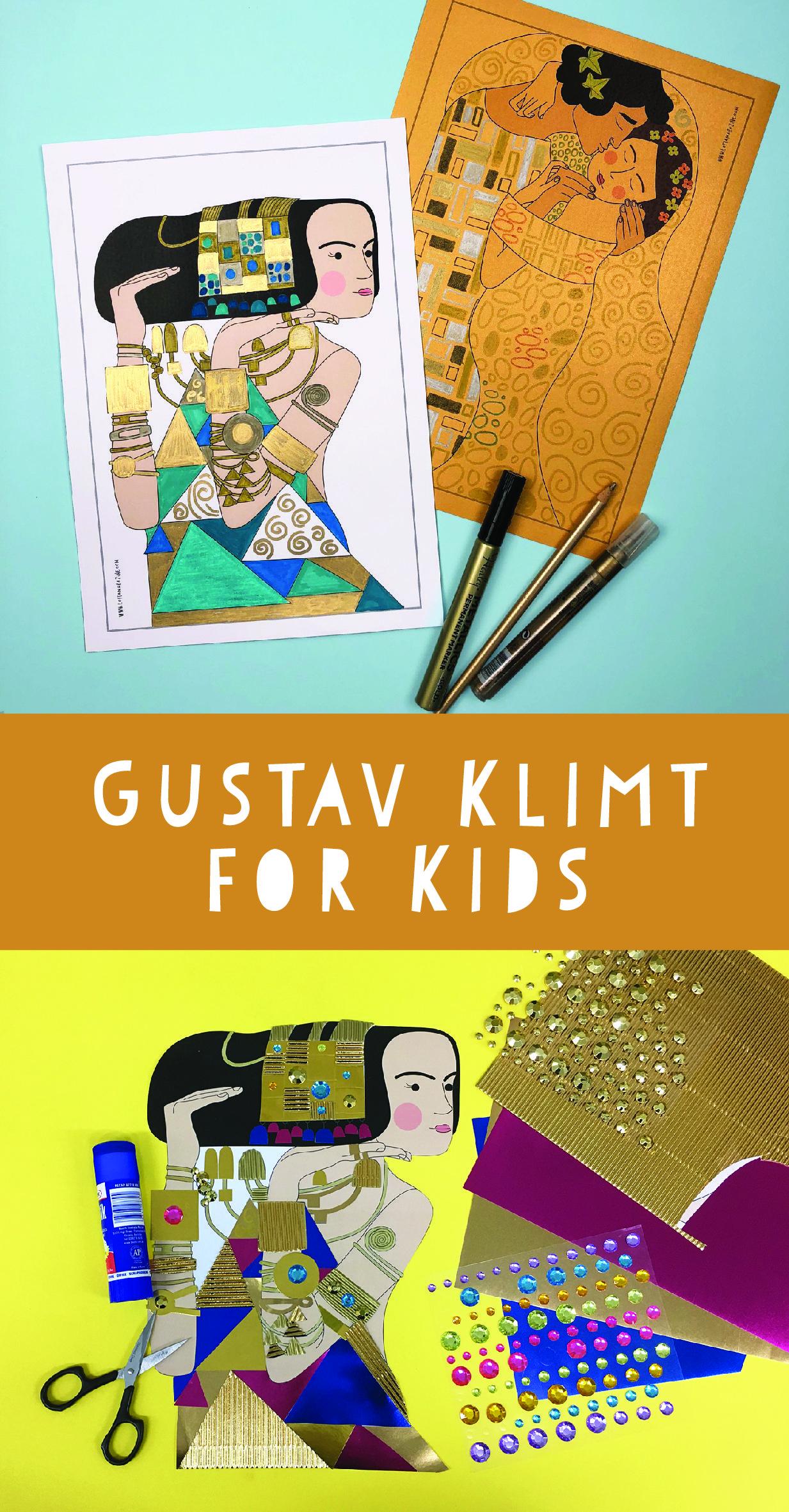 Klimt for kids gustav klimt golden girls colouring pages fun