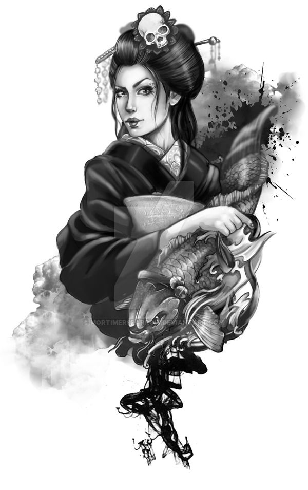 Geisha and her Koi by mortimersparrow on DeviantArt