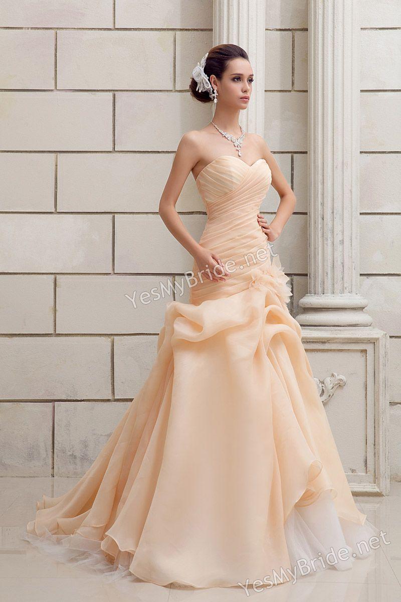 Dropped waist wedding dress  Champagne Strapless Sweetheart Drop Waist Aline Wedding Dress