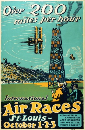 "By Carl Walter, 1923, International Air Races. St. Louis ""Over 200 miles per hour.""(US)"