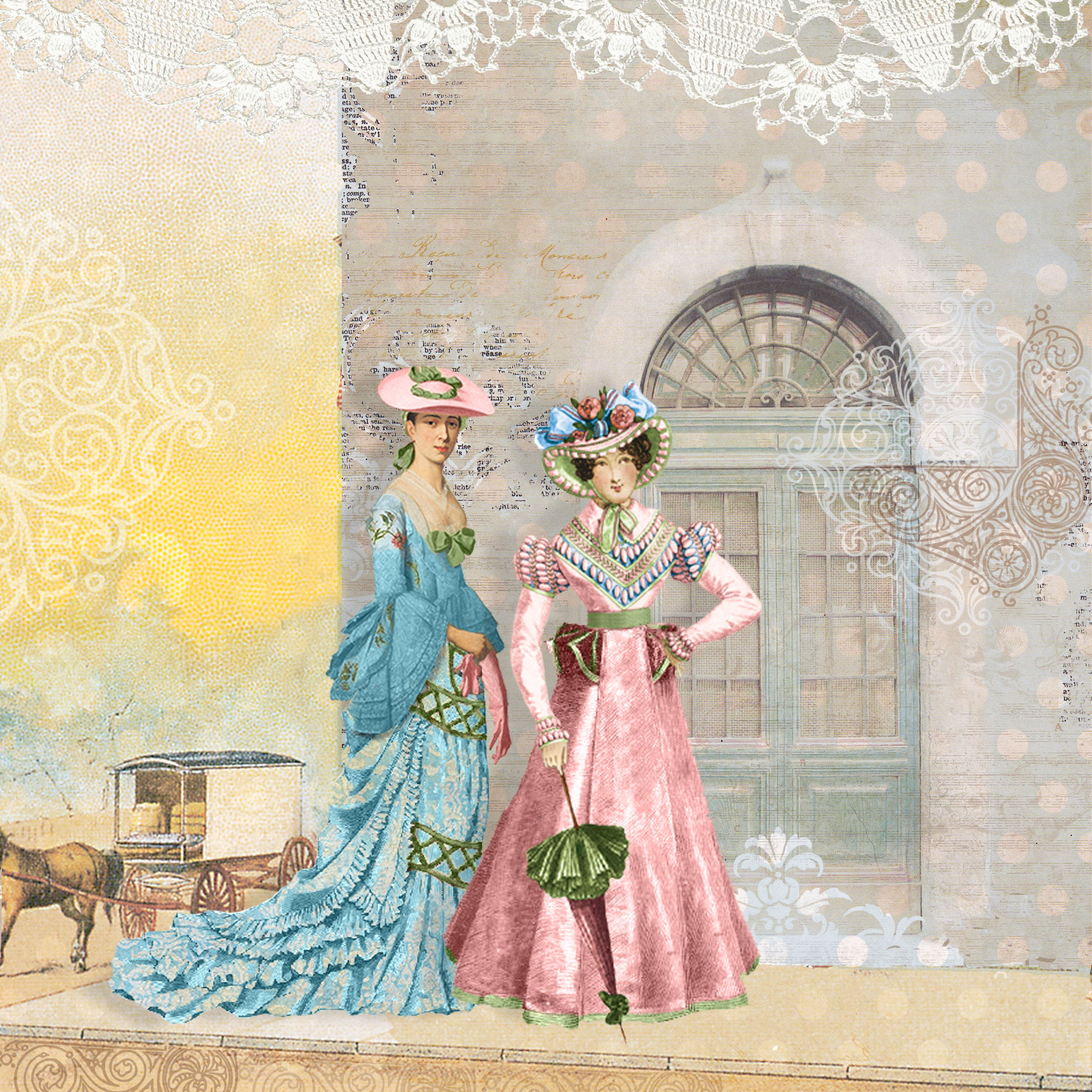 Avenue Stroll AS collage sheets/papers: The Lady In Blue Victorian ...