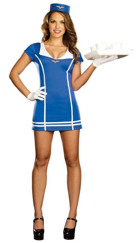 Be Wicked 3pc Mile High Service Pilot Stewardess Dress Women/'s Costume BW1423C