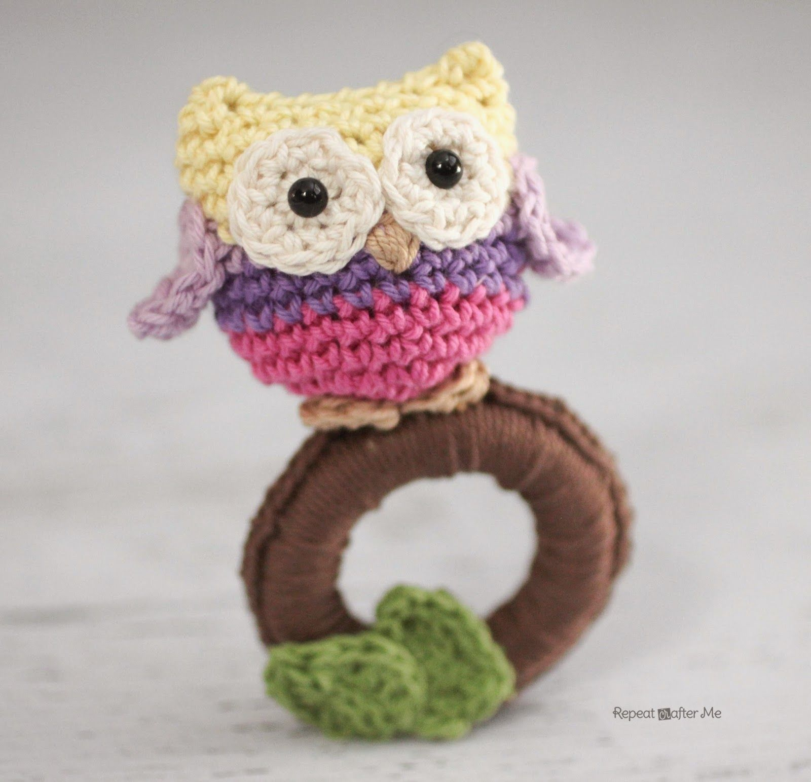 Repeat Crafter Me: Crochet Owl Ring Baby Toy-free pattern | Owls ...