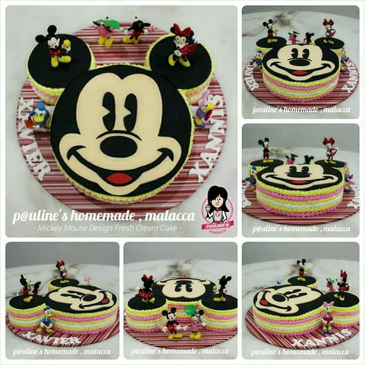 Mickey Mouse 2d Hand Cut Design Fondant Fresh Cream Cake Fresh