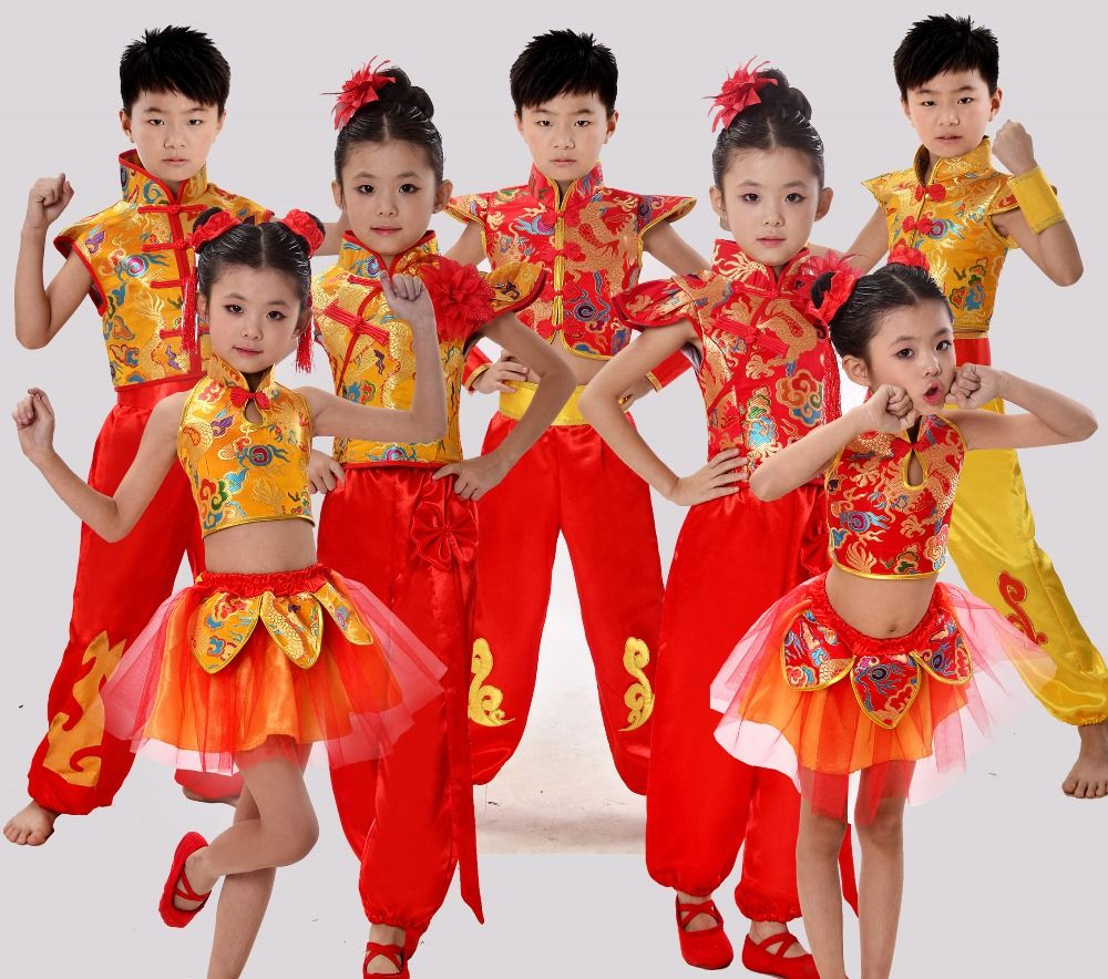 8eb8ca8c9 Traditional Chinese Dance Costume Children National Performing Dance  Martial Arts for Girl and Boy Kung Fu Dance Costume