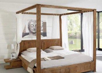 himmelbett guru 180x200 akazie stone by wolf. Black Bedroom Furniture Sets. Home Design Ideas