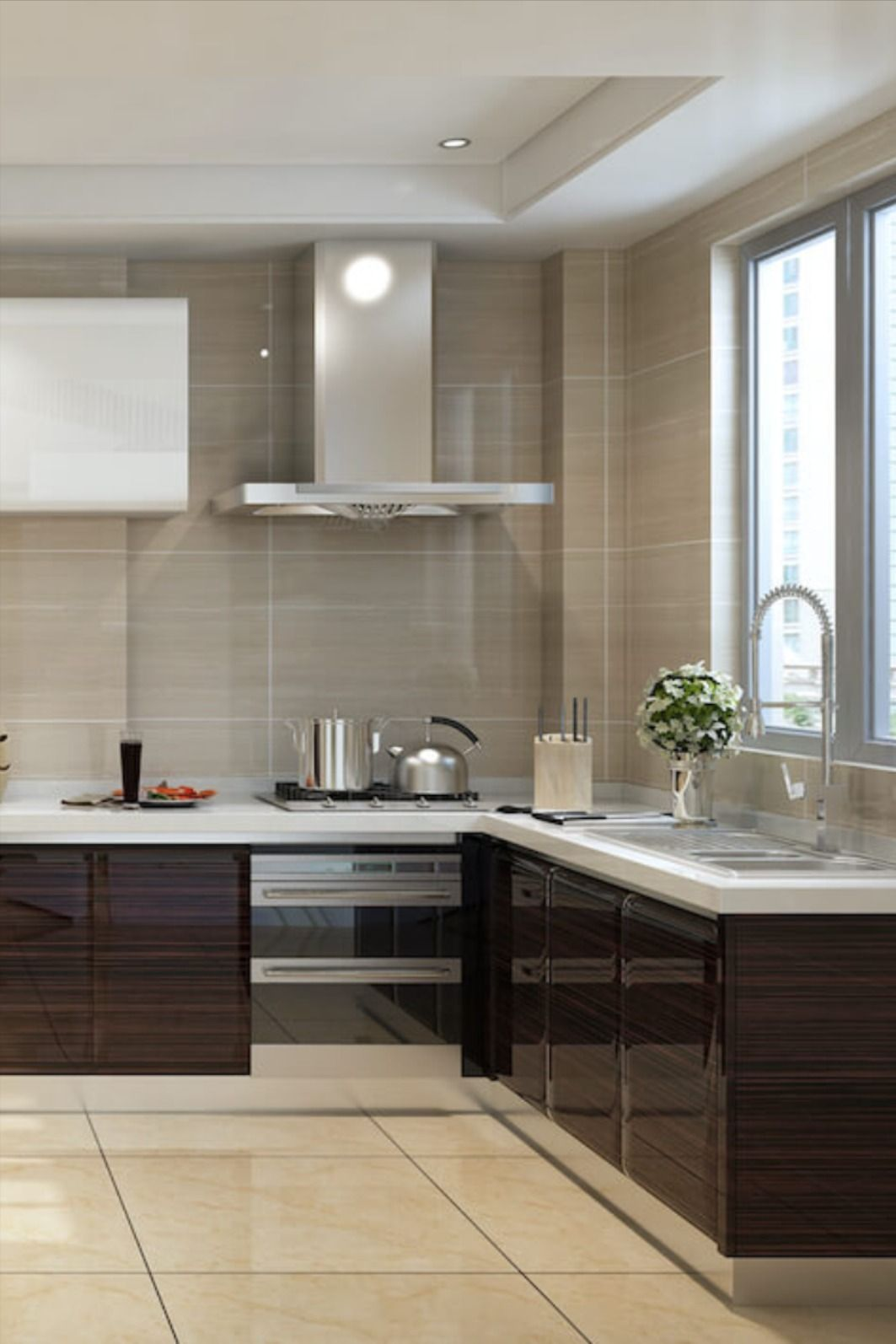 High Gloss Lacquer Kitchen Cabinets Modern Kitchen Set Mirrored Kitchen Cabinet Luxury Kitchen Design