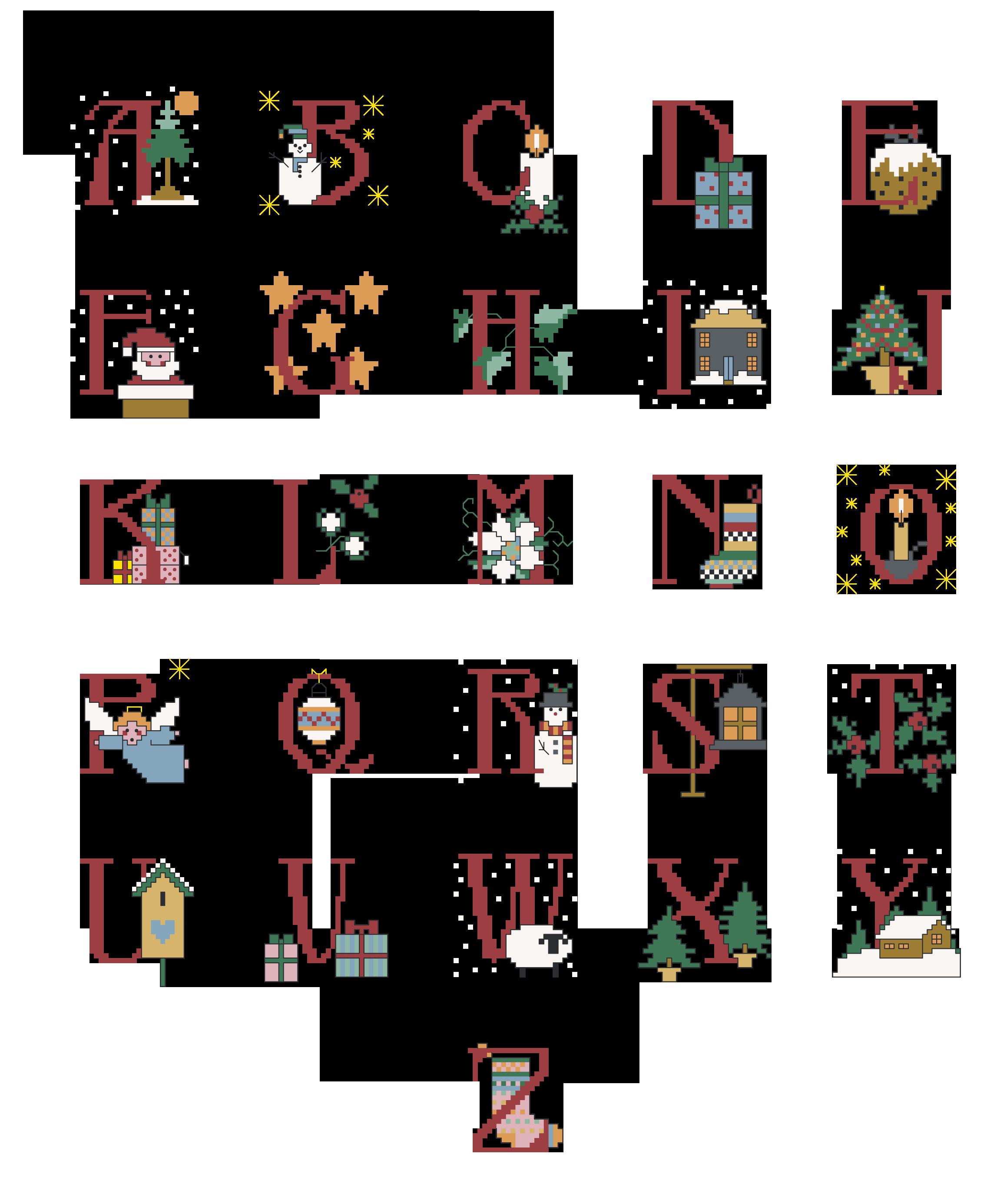 Alfabeto natalizio alfabeti a punto croce cross stitch for Ricamo punto croce lettere