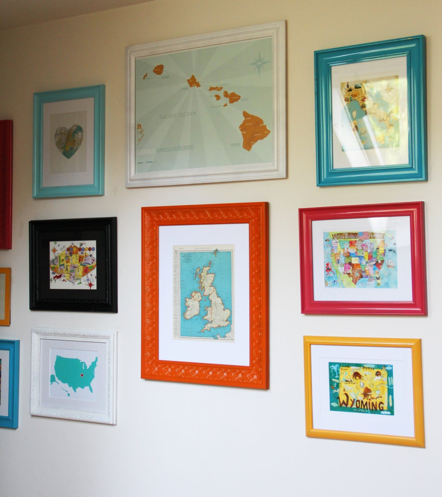 DIY Gallery Map Wall with colorful painted frames - simpler colored ...