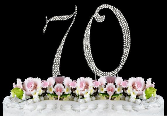 new large rhinestone number 70 cake topper 70th by blingshirtworld