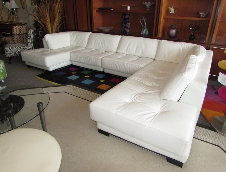 Roche Bobois White Leather Sectional Modular Corner Sofa Chaise Barb Janice Magic Eraser Clean