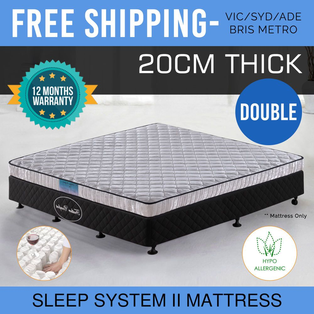 Details About Mattress Double Size Bed 20cm Thick Pocket Spring