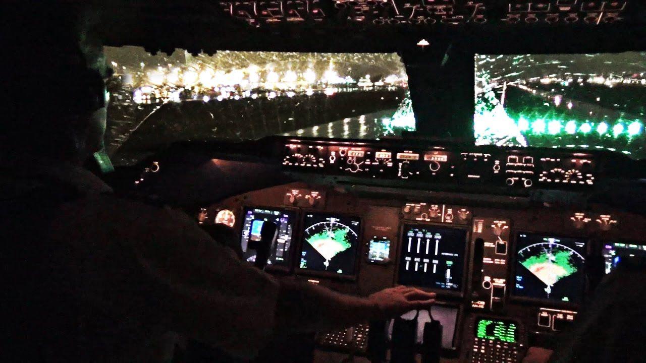 Boeing 747 400 Miami Take Off In Heavy Rain Cockpit View