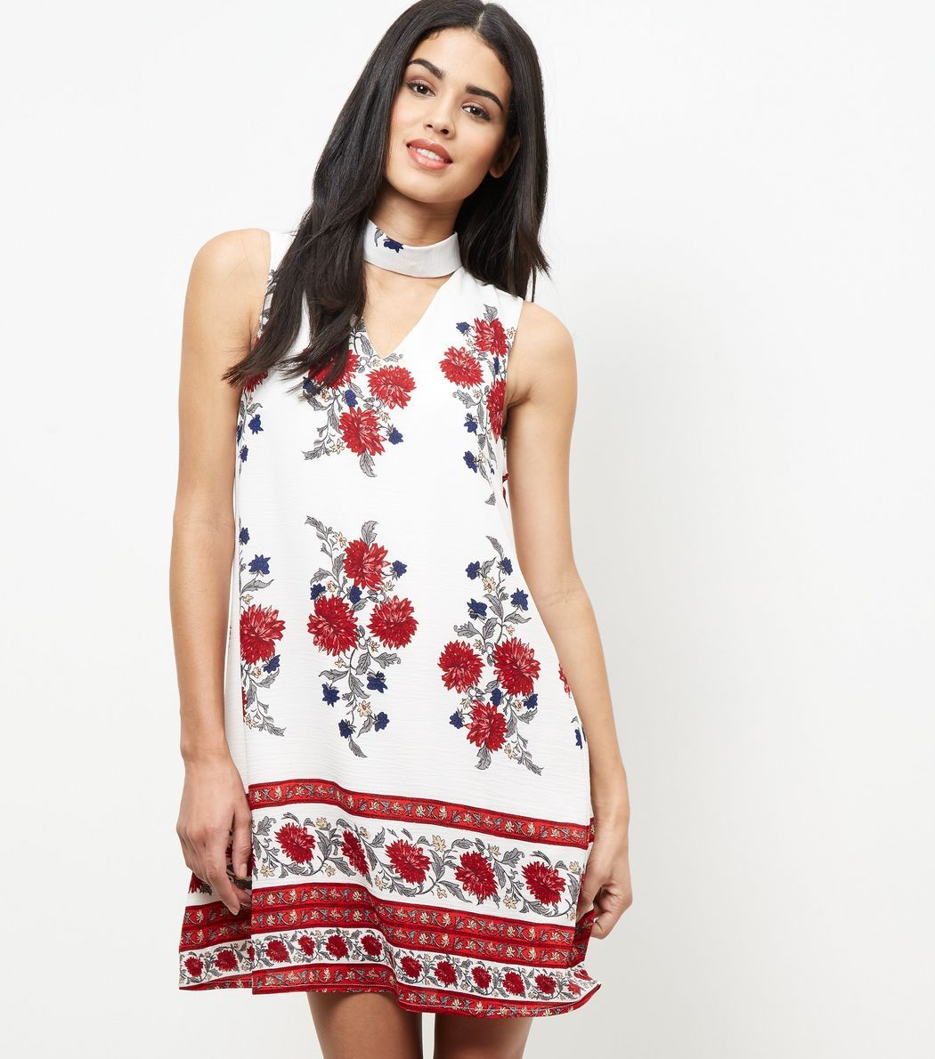 White floral print cut out funnel neck dress floral ss and printing