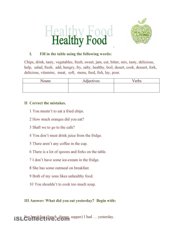 medium resolution of Healthy Diet Worksheet For Grade 3
